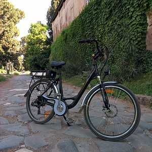On of our eBikes on the ancient cobblestone