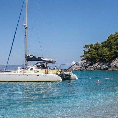 Evdora Catamaran Yaght in Skiathos Sailing