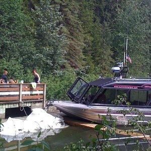 M/V Denali at Chief Shakes hot tubs, Stikine River