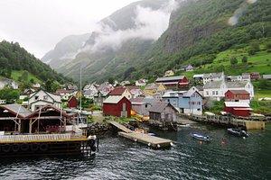 Misty village at Naeroyfjord