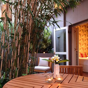 Our serene bamboo courtyard is the ideal place to relax while waiting for your Thai Massage