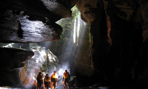 """""""God Lights"""" at the cave exit"""