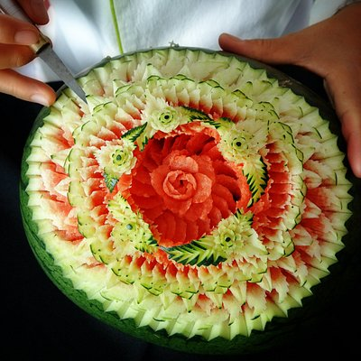Thai Fruit Carving Mastery at its Best.