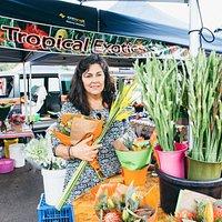 Market manager Helen Langlois, enjoying market atmosphere!