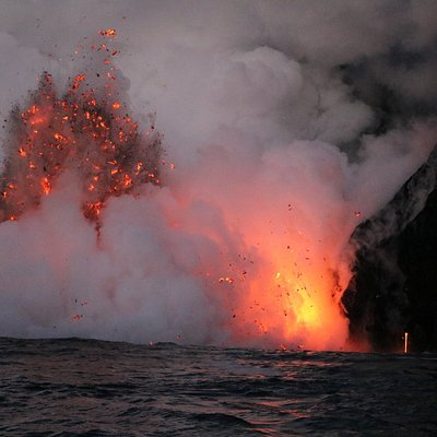 Volcanic fireworks as lava meets the ocean...Sunrise tour!