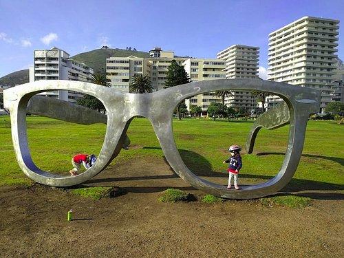 Nelson Mandela glasses public art on Cape Town promenade