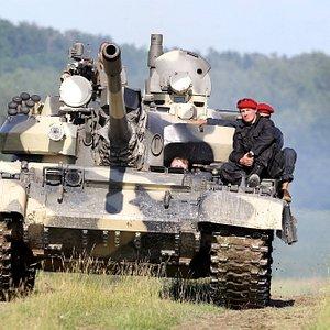 Battle Tank T55AM2 driving by client