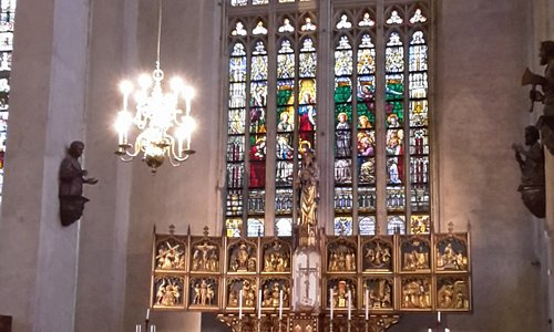 altar and old stained glass windows