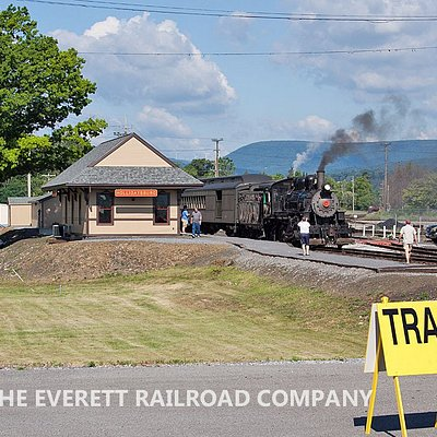 The newly-constructed Everett Railroad depot in Hollidaysburg, PA.