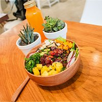 Ahi Tuna Poke and fresh cold pressed orange juice. Healthy and delicious