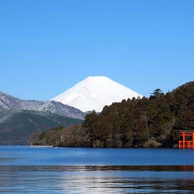 Mt.Fuji and Lake Ashi in Hakone, winter season