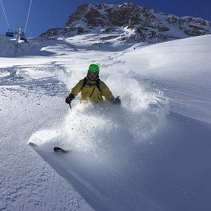 Powder skiing under the Matterhorn