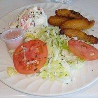 Veggy option, Potato Salad, Yellow Ripe Plantains, and Chef Salad.
