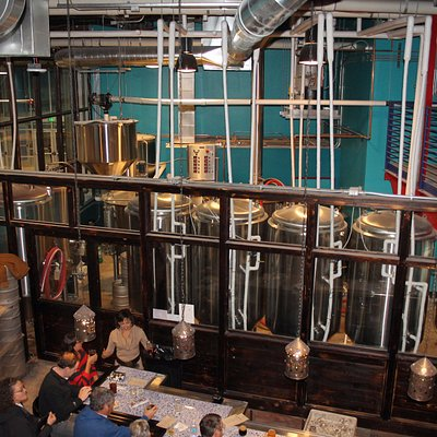 The bar and brewing area