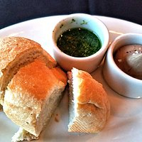 Bread with balsamic butter and salsa verde came with the meal.