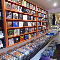 Great selection of CD's, Sid in the background playing music
