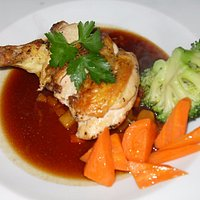 Maize fed chicken with pancetta and red wine sauce