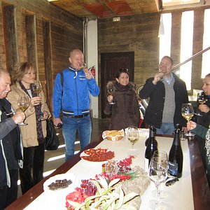 Wine tasting at a winery in the Utiel-Requena wine region.