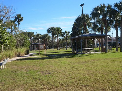 View of the walking path and picnic pavilion