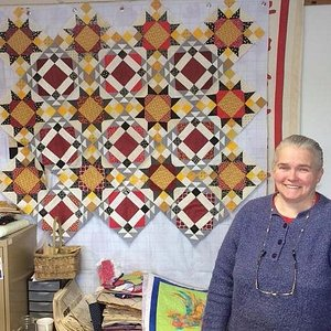 Owner Barb Welch of the Quilted Rooster, a not to miss shop!