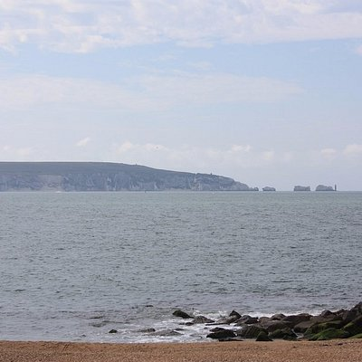 A view of the Needles from the spit.