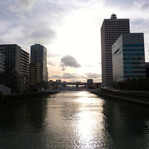 Taken from one of the many bridges that cross the rivers that flow through Osaka.