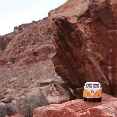 The yellow van at the Cube in the Kraft Boulders.