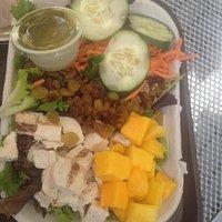 Vegetarian salad with chicken added