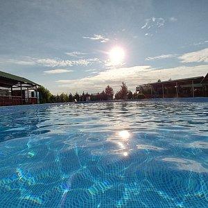 Kara Dala resort in Chundzha hot springs in Kazakhstan. View from the main outdoor pool.