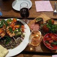 Salmon skewers and Arancini summer platter.... YUM!