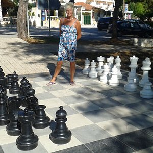 Skala's giant chess set, on the square above the beach access area.