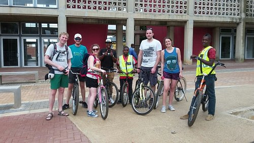 A bicycle tour in Soweto with our guest from France they were very happy after riding around Sow
