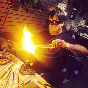 Kevin flameworking at the shop!