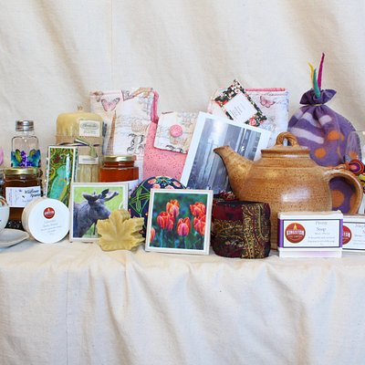 Some of our many handmade products displayed.