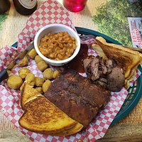 Ribs and brisket with fried okra and beans