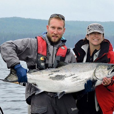 A monster chinook salmon is held for a quick photo at Langara Island before being released.
