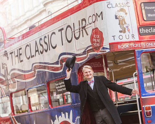One of our funny and informative tour guides on the Classic Tour Bus
