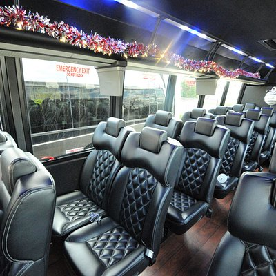 Mini-bus decorated for a corporate Christmas party