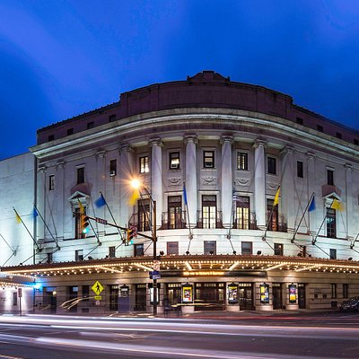 Eastman Theatre at night.
