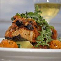 Fresh salmon and wine at Dal Toro