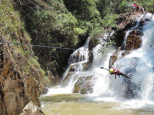 Canyoning at Datanla Falls in Da Lat with Phat Tire Ventures - Tyrolean Traverse ZipLine
