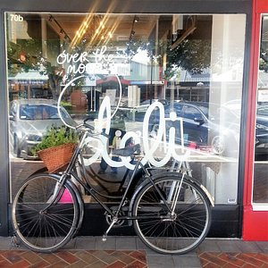 Our beautiful shop front with signature bicycle