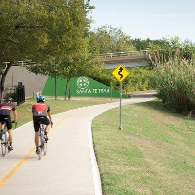 Riders on Santa Fe Trail near Brookside Dr Bike Repair Station