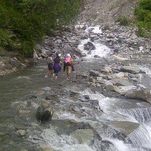 River crossing during Trekking