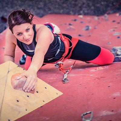 Draußen Klettern im Magic Mountain / Outdoor climbing  route at Magic Mountain climbing gym
