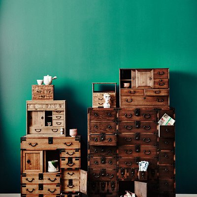 Japanese furniture epitomizes form function & style. Pictured, Vintage and Antique boxes and che