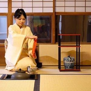 tea ceremony near Golden pavilion (kinkakuji)