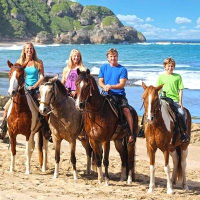 Tropical Trail Rides family at Survival Beach