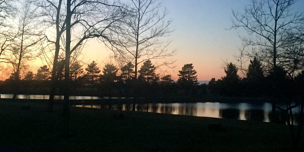 One of the two picturesque on-site lakes at dusk.