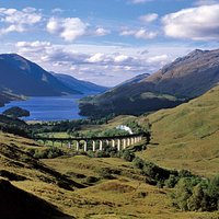 Another view of The Jacobite from above the Glenfinnan Viaduct.
